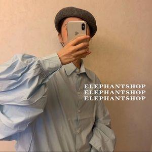 Tops - Korean designer blue blouse